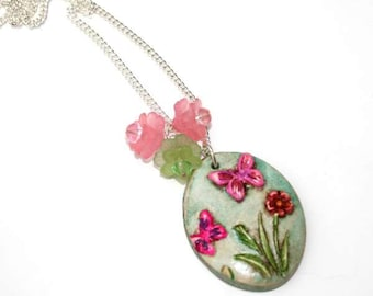 Pink Flower Butterfly Necklace, Flower Necklace, Butterfly Pendant