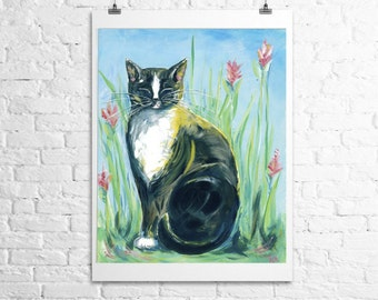 Tuxedo Cat Art Print- cat with pink flowers 12x18