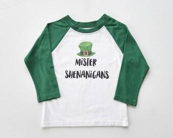 Mr Shenanigans - Boy St Pats Shirt - St Paddys Shirt - Irish raglan - Boy Shamrock Shirt - toddler St Patrick
