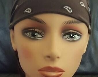 "CHEMO CAP ""Brown Hanky""    Fantastic Elastic Headwrap"""