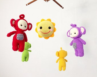 Baby Crib mobile - Baby mobile Amigurumi Eh-Oh! Teletubbies Tinky Winky, Dipsy, Laa-Laa, Po Nursery decor, crochet mobile, Nursery mobile.