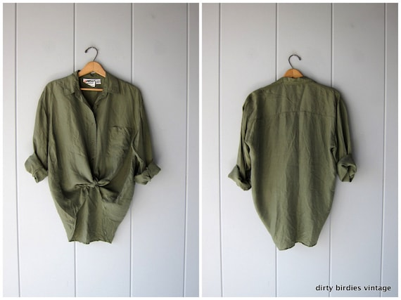 90s Army Green Silk Blouse Slouchy Vintage Button Up Shirt Minimal Loose Fit Basic Top Modern Silk Blouse Womens Medium Large