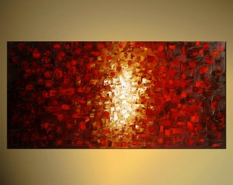 Large Acrylic Painting Original Abstract Modern Art Red Ready to Hang Frame Fine Original Art by Osnat - MADE-TO-ORDER