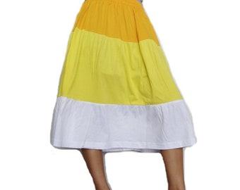Women Mini Ruffle Skirt Bohemian Casual Gypsy, Three Tone Cotton Blend (Skirt *MR02).