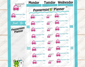 Insurance Due --- Planner Stickers --- 96