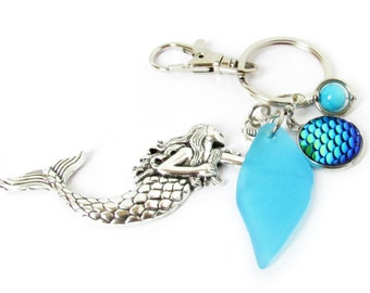 Mermaid Keychain, Mermaid Key Chain, Mermaid Accessories, Car Accessories, Sea Glass Keychain, Beach Accessory, Gift for Her, KY2