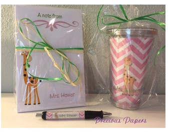 Personalized giraffe notepad, tumbler and pen set.  Giraffe personalized gifts
