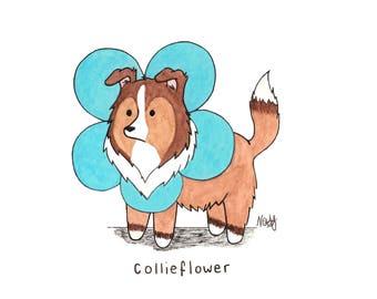 Collieflower - Illustration-Druck-Postkarte