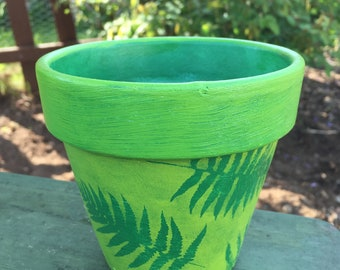 Hand Painted Terra Cotta Flower Pot - Personalized Green Fern Clay Flower Pot