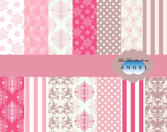 Kit Brown and pink digital papers / Digital paper kit pink and brown