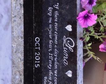 "Pet Memorial Marker, Long, Horizontal Multi Pet Marker, Granite Base Incl* Headstone, 12"" X 3-1/2"" X 1""* Hand Engraved,~DESIGN YOUR Own"