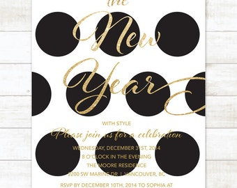 black and gold new years party invitation, new years eve invitation invitation, black gold glitter invitation digital invite customizable