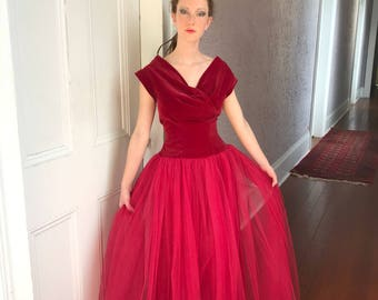 50's Vintage Velvet Tulle Party Dress Evening Gown  XS/Sm.