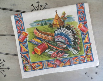 Cotton G W Prismacolor Kitchen Towel American Indian Teepee Colorful Kitchen Towel Retro Towel Vintage Dish Towel