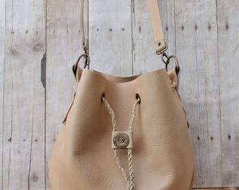 LAYLA Detailed Leather Bucket Handbag in Buttermilk + Vintage Conchos - Boho, Country,Cowgirl, Western, Rodeo, Handcrafted, Luxe