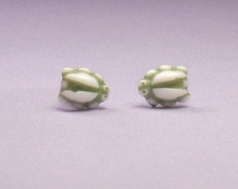 Vintage Green and White Little Bug Stud Earrings