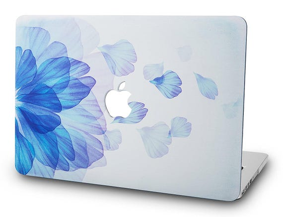 "2017 & 2016 Mac Book Pro 13"" With/Without Touch Bar A1706/A1708 Graphics Plastic Hard Case Cover With Apple Logo Cut Out   Ombre Blue Floral by Etsy"