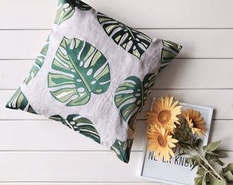Embroidered Tropical Leaf Pillow Case - Leaf Pillow Cover - Leaf Pillow Sham