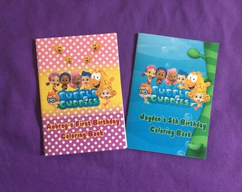 12 Personalized Bubble Guppies Coloring Books, Party Favors