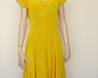 Yellow Silk Tea Dress - Size 16/18