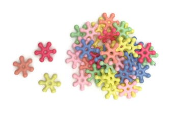 20 lucite gear beads 14 mm in a mixed selection of bright pastel  colors