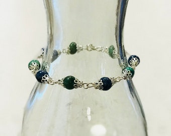 Jade and Sodalite Beaded Bracelet