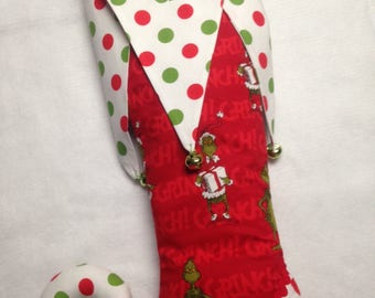 Red, green and white Christmas stocking.polka dots large or small