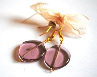 Handmade Purple Glass Bead Earrings