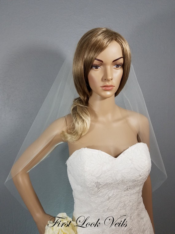 Ivory Wedding Veil, Bridal Hip Veil, One Layer Plain Viel, Wedding Vail, Wedding Accessories, Bridal Veil, Short Veil, Pink Veil, White Veil