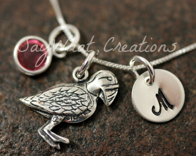 Sterling Silver Mini Initial Hand Stamped Puffin Charm Necklace