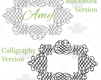Amy Monogram Font Frame Machine Embroidery Pattern Design