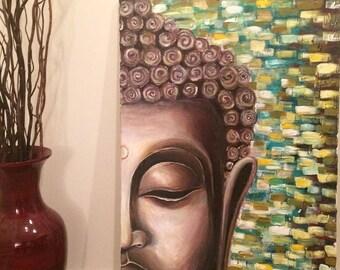 Half Face Buddha Acrylic Painting