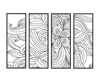 DIY Bookmarks- Printable Coloring Page- Adult Coloring Pages- Instant Download- Gifts for Bookworm- ZenDoodle- Printable Bookmark- Floral 20