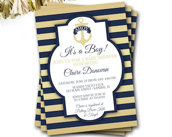 Nautical Baby Shower Invitation, Navy And Gold Nautical Invitation, Preppy Baby Shower Invitation, Anchor Invitation, DIY Printable