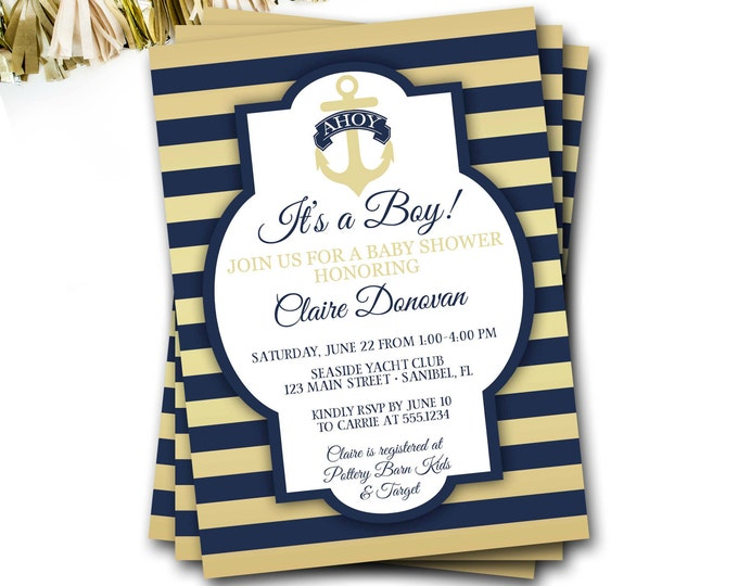Nautical Baby Shower Invitation, Navy And Gold Nautical Invitation, Preppy Baby Shower Invitation, Anchor Invitation, DIY Printable