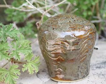 Brown Grey Garden Sphere ceramic garden art planter ornament container garden sculpture garden decor