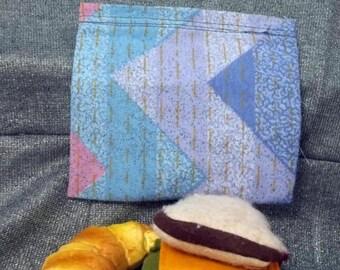 Reusable Sandwich Bag, Blue and Pink Chevron Print
