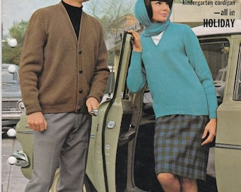 ON SALE On Sale - Paton's Knitting Pattern No 753  Fashion For Family in Patons Holiday (Vintage 1960s), Jumpers, Sweaters, Jackets, Cardiga