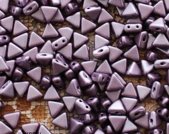 Kheops Par Puca 6mm Metallic Matte Dark Plum Beads - 10 Grams Kheops Matte Purple Metallic Beads - 2 Hole Triangle Bead - 2388