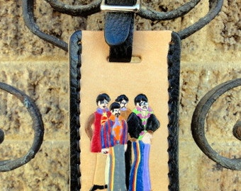 Leather Luggage Tag with Beatles
