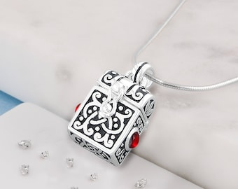 Silver memorial pet ashes/hair  treasure chest urn necklace