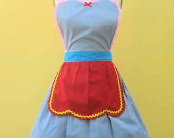 Retro apron DUMBO Circus apron great party hostess gift womens full apron that is vintage inspired