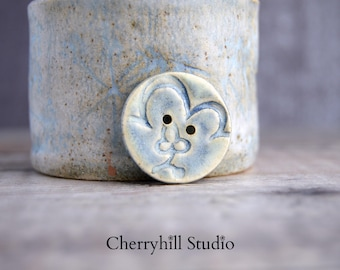 Ceramic Button, Large Round Ceramic Button, Buttons, Sew on Buttons, Ceramic Embellishments, Haberdashery, One Of A Kind