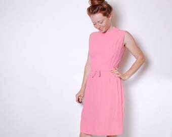 60s medium pink sheath dress bow belted sleeveless womens vintage clothing mad men 50s fitted over the knee shift work dress