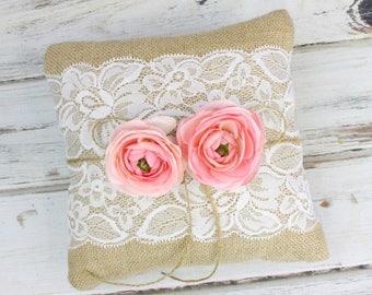 Burlap and Lace - Ring Bearer Pillow - Rustic Wedding - Wedding Ring Holder - Elegant Barn Wedding -  Woodland Wedding - Ring Pillow