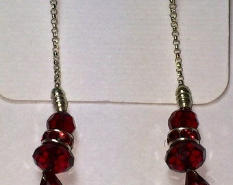 Siam red swarovski crystals on silver chain and earwires