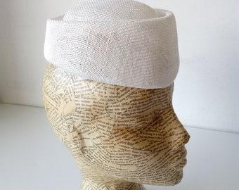 Sinamay Air hostess Pill Box - White - Millinery, millinery supplies, hats, fascinators, races, weddings, bridal