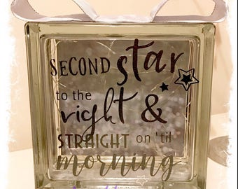 BRAND NEW Glass Block Light - Second star to the right and straight on 'til morning   Neverland   Peter Pan