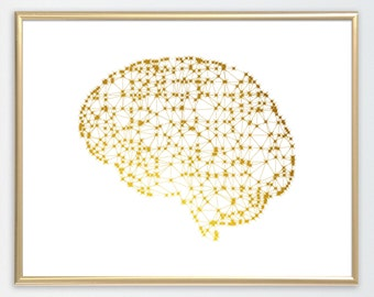 Human brain, brain cells, poster, Neurons and brain abstract illustration anatomy science art the brain wall art gift,gold foil, gold