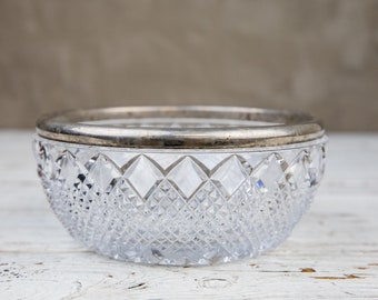 Heavy Weight Vintage Glass Serving Bowl with Silverplate Rim-Food Photography Props